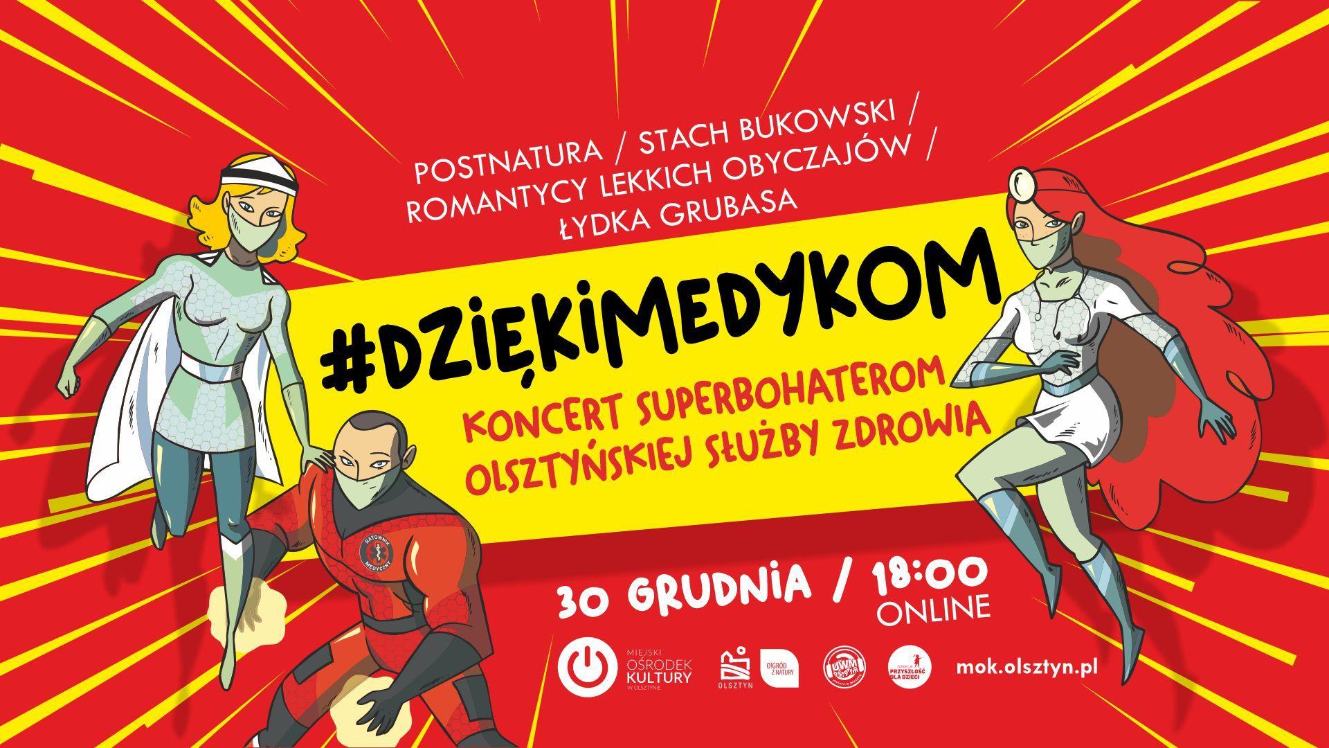 Koncert online #DziękiMedykom: Łydka Grubasa, Romantycy Lekkich Obyczajów, Stach Bukowski, Postnatura