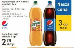 Napoje Pepsi, 7UP, Mirinda, Mountain Dew 2l - taniej przy zakupie 3 szt. Tesco