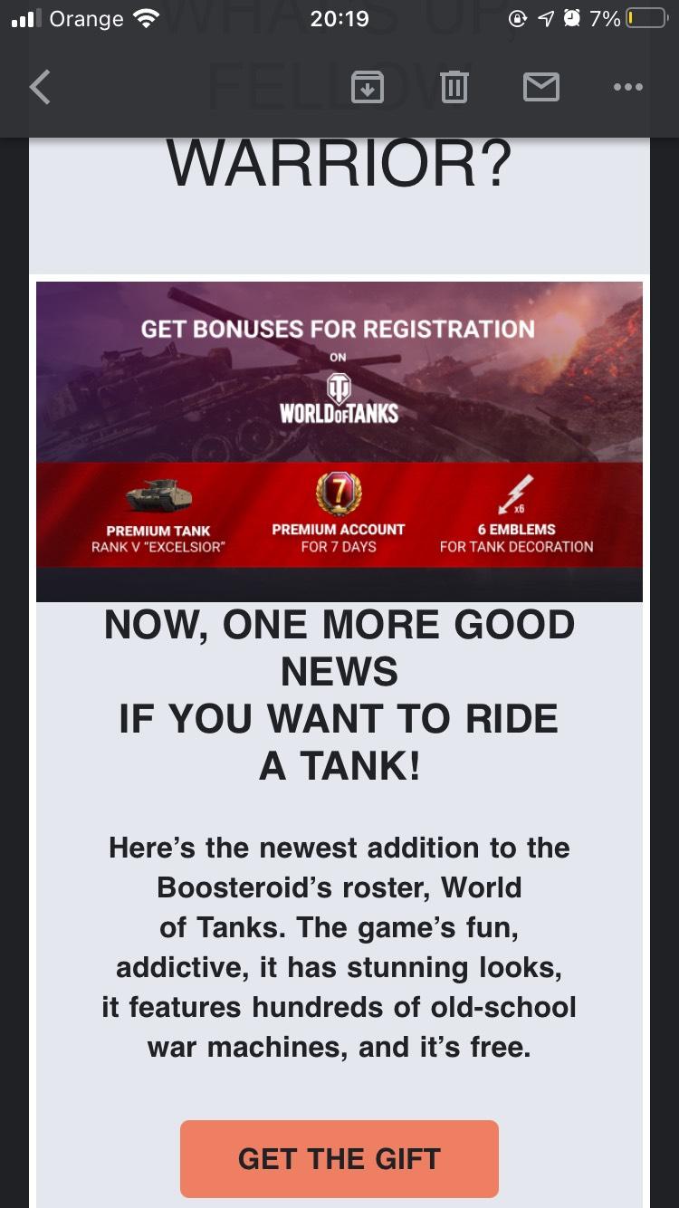 Bonus do world of tanks od Boosteroid