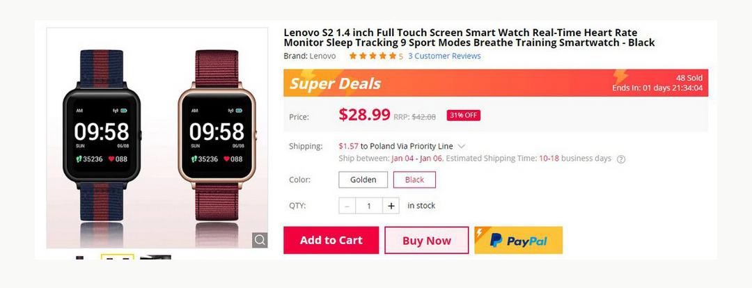 Smartwatch Lenovo S2 $28.99 + $1.57
