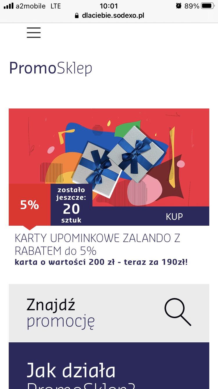 -5% na zakup karty podarunkowej Zalando