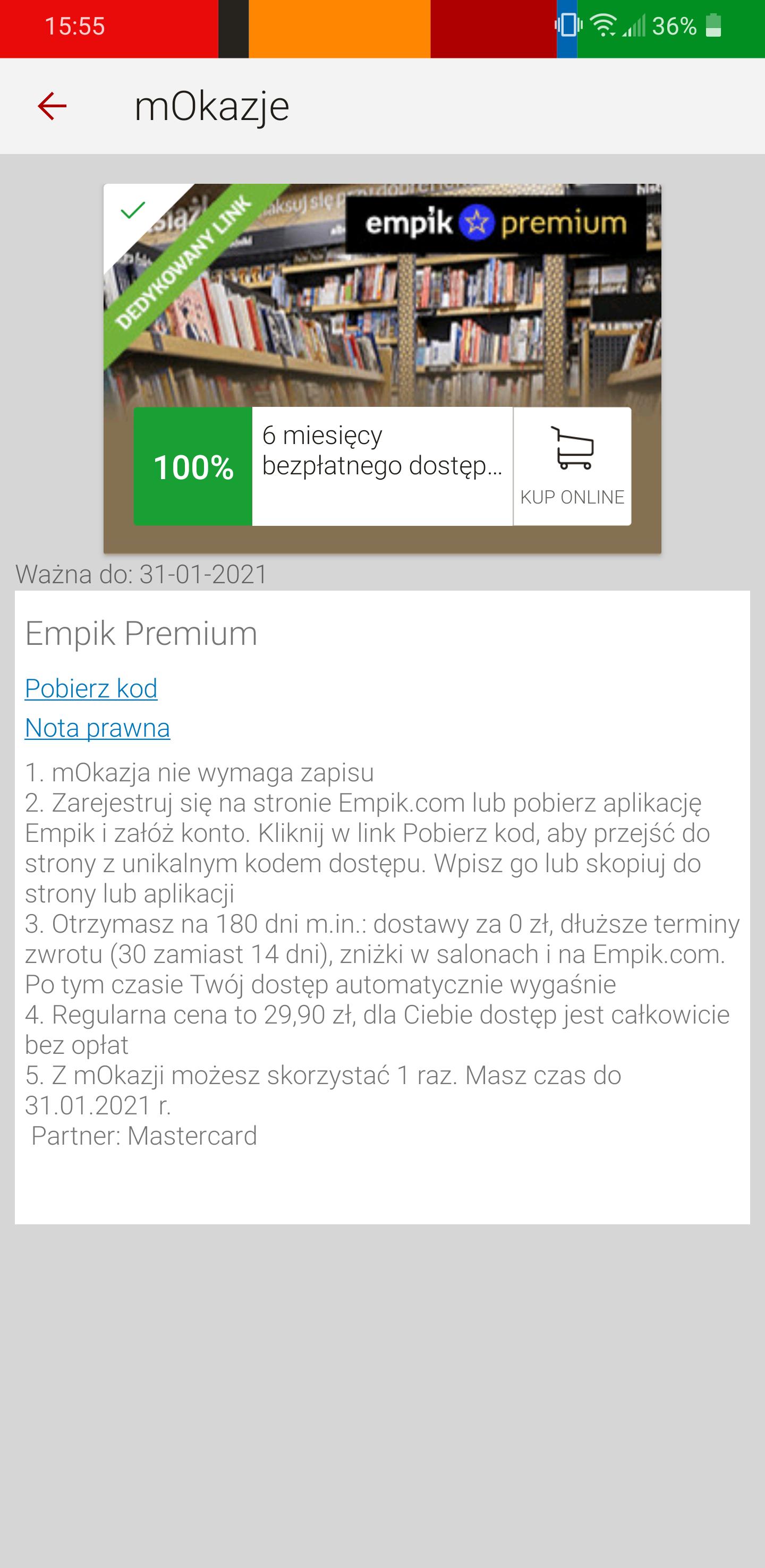 Empik premium 6 miesięcy za darmo mOkazja mBank