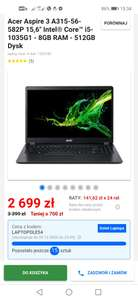 "laptop Acer Aspire 3 A315-56-582P 15,6"" Intel® Core™ i5-1035G1 - 8GB RAM - 512GB Dysk"