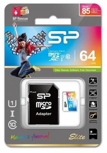 Karta pamięci MicroSDXC Silicon Power Colorful Elite UHS-1 64GB CL10 + adapter