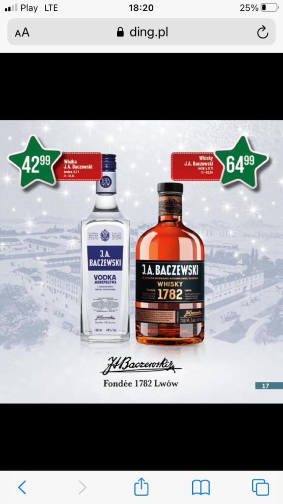 J.A Baczewski wódka 0,7 lub whisky 0,7 64,99zl