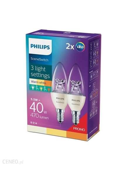 Żarówka Philips SceneSwitch LED Świeczka 5,5 W (40 W) E14 2szt