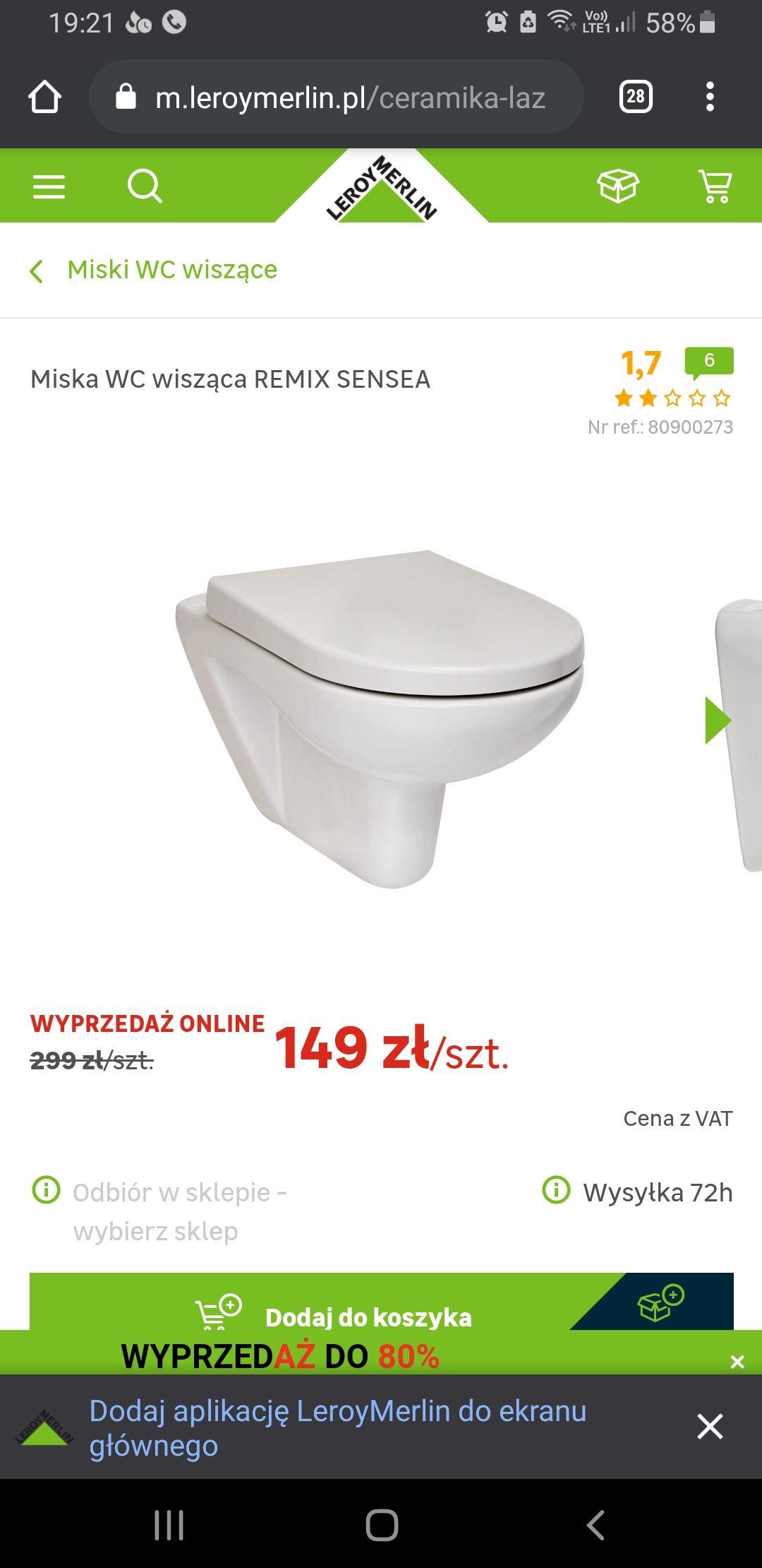 Miska wisząca WC Remigiusz Sensa