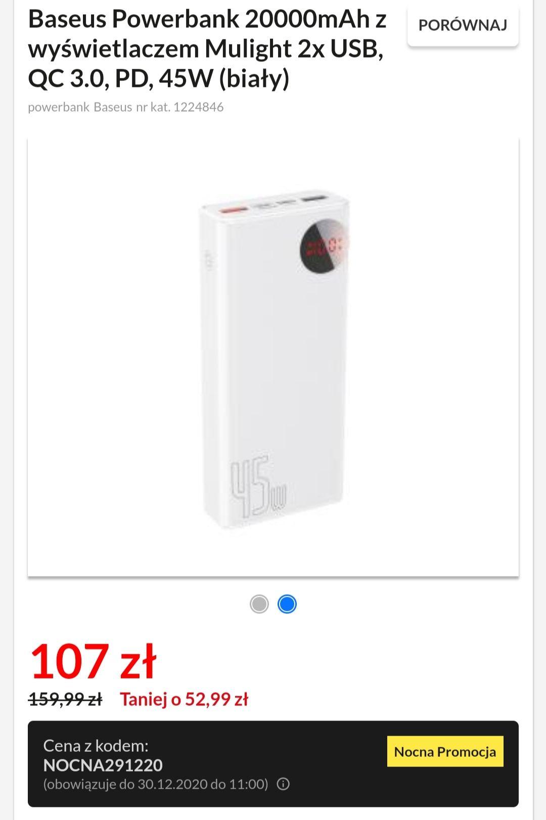 Baseus Powerbank 20000mAh z wyświetlaczem Mulight 2x USB, QC 3.0, PD, 45W (biały)