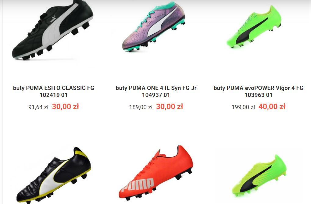 futboloutlet.pl zestawienie korki halówki: puma adidas nike