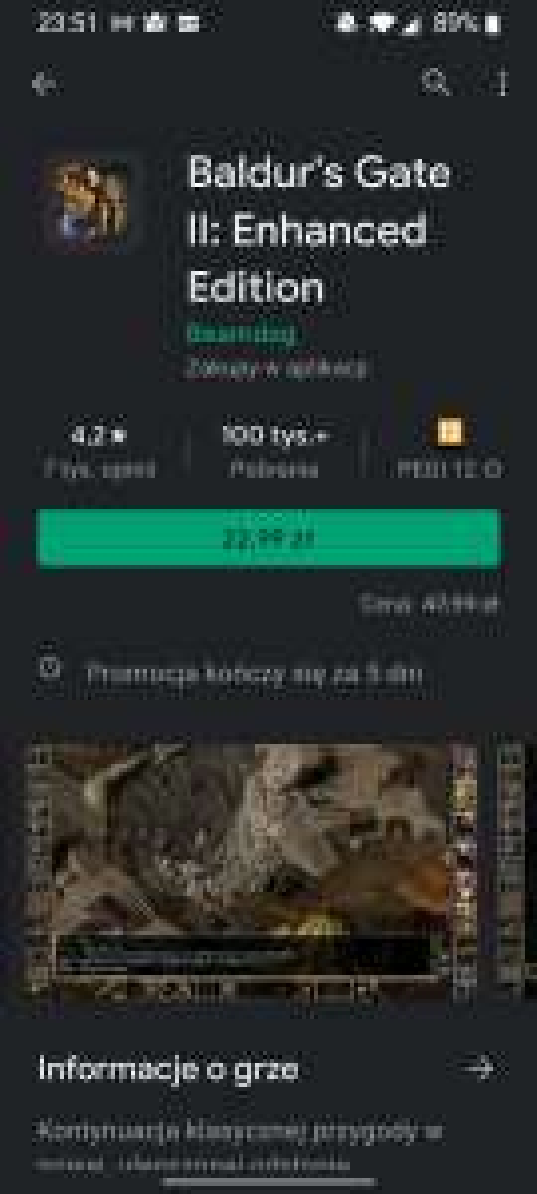 Baldur's Gate 2 n androida w obniżonej cenie.