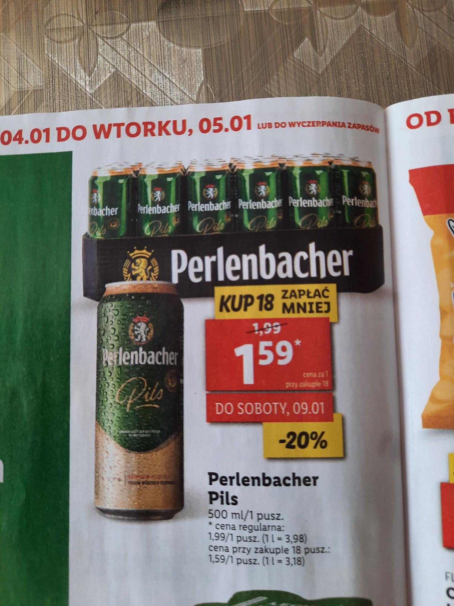 Piwo perlenbacher w puszce taniej przy zakupie 18 sztuk w Lidlu
