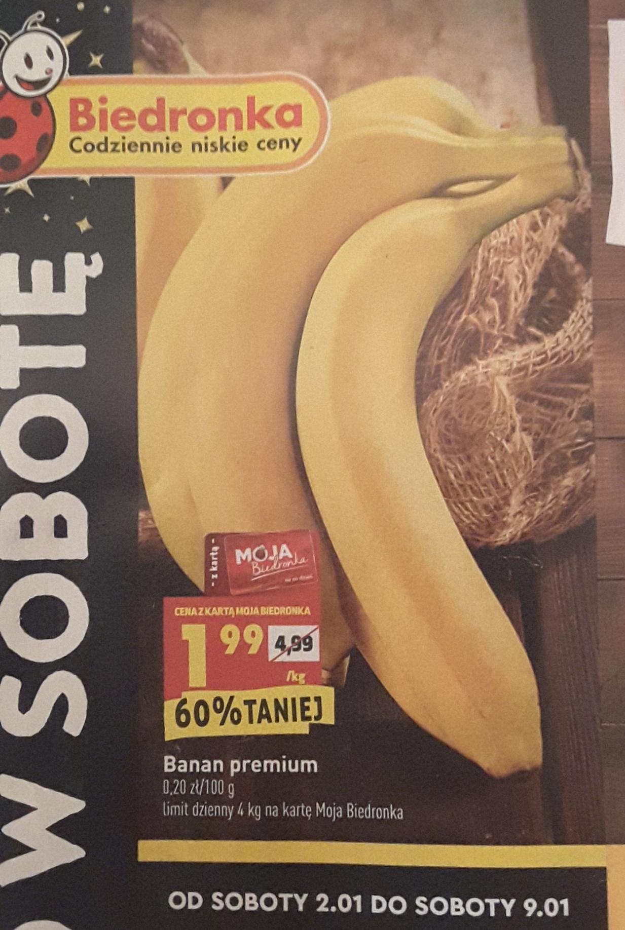 Banany 1kg w Biedronce, TYLKO 2.01