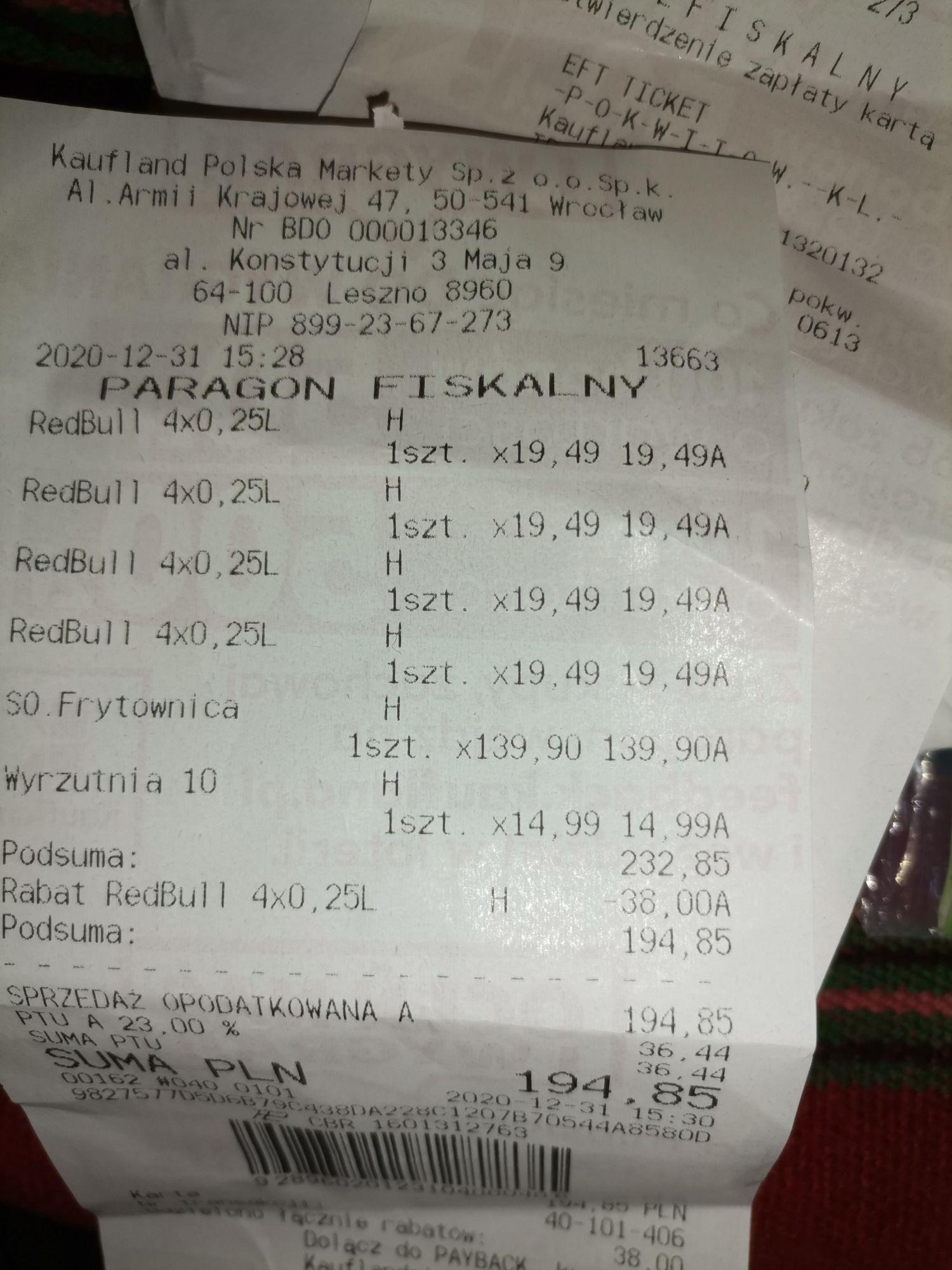 Kaufland Redbull 4 pak 10zl