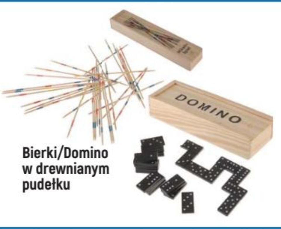 Gra DOMINO w drewnianym pudełku / BIERKI drewniane