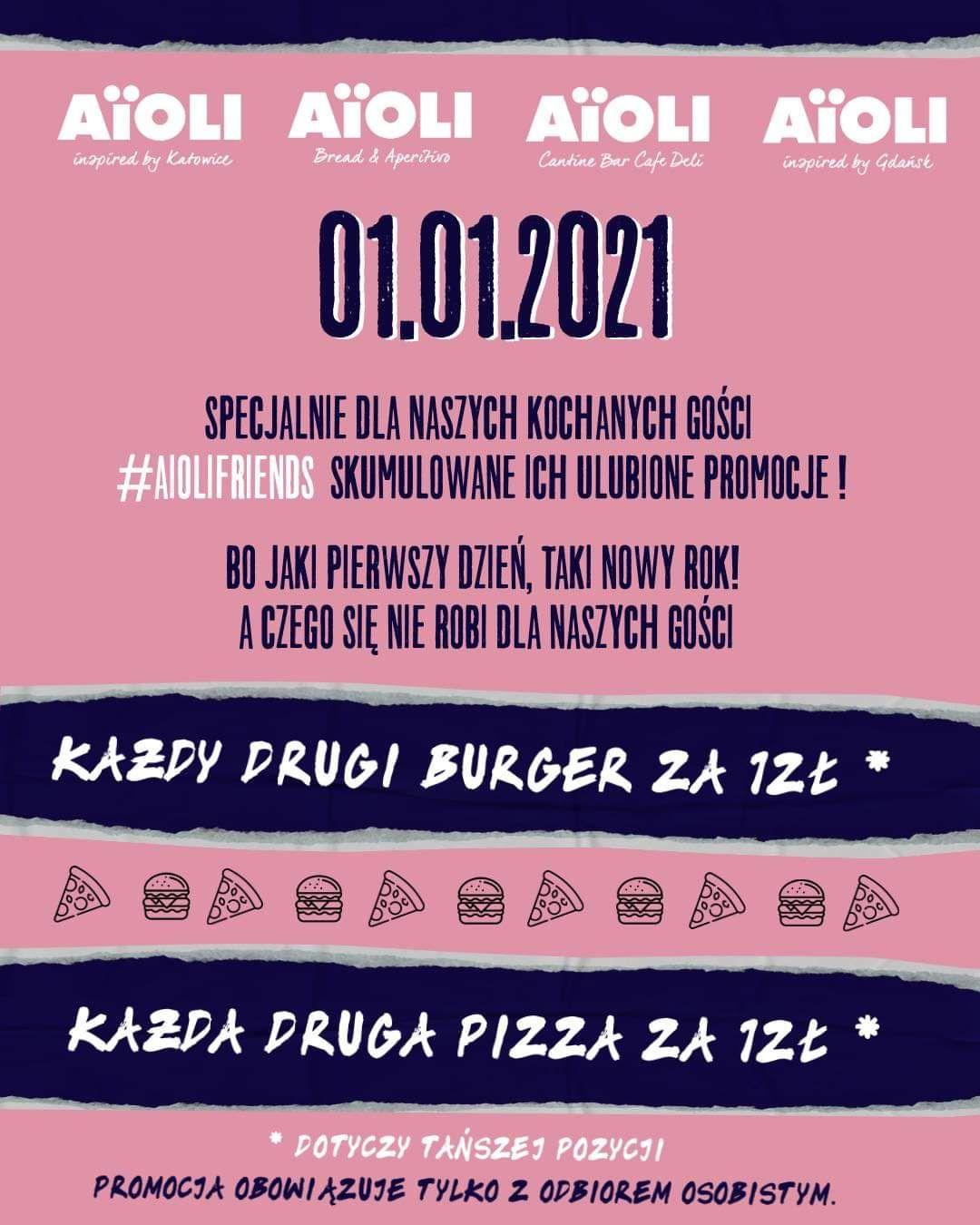 Aiöli - Druga pizza lub drugi burger za 1 zł
