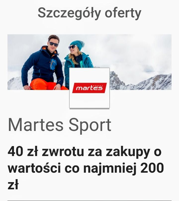 Visa Oferty, Martes Sport 40 zł zwrotu za zakupy o wartości co najmniej 200 zł online i w sklepie stacjonarnym i płatności kartą Visa