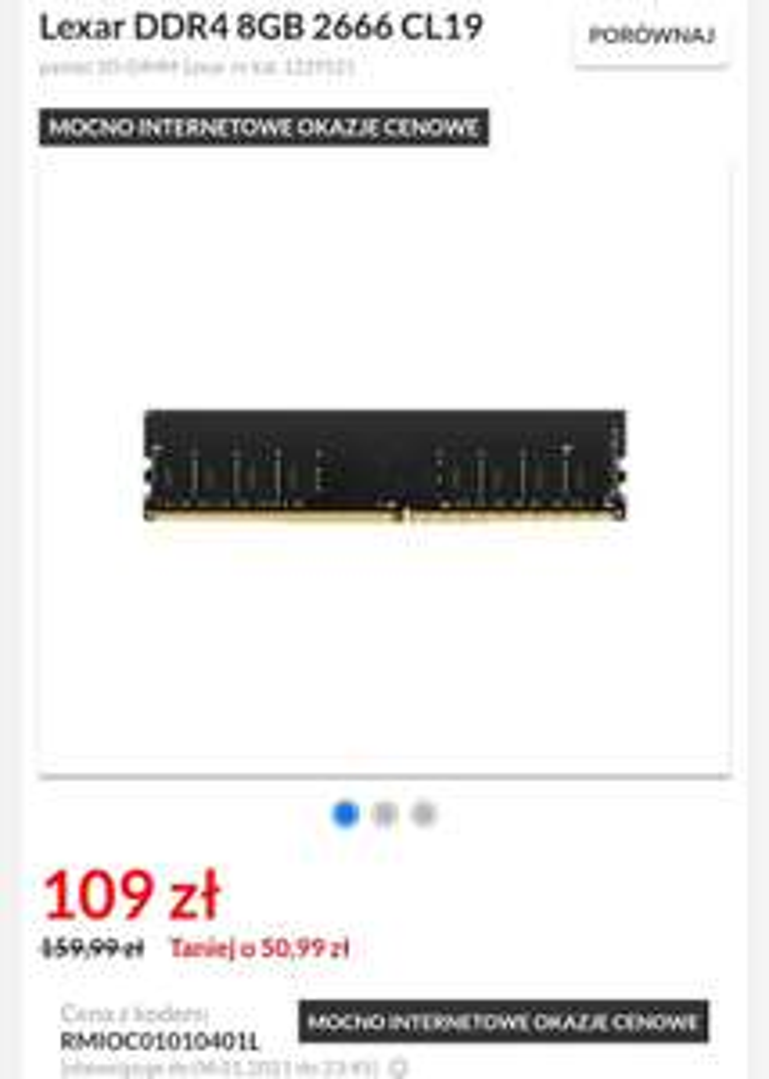 Pamięć RAM Lexar DDR4 8GB 2666 CL19