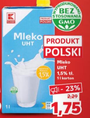 Mleko litrowe UHT 1,5% Kaufland