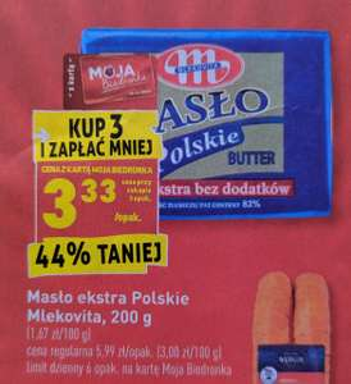 Masło Mlekovita po 3,33zł/szt. przy zakupie 3 szt. z kartą Moja Biedronka