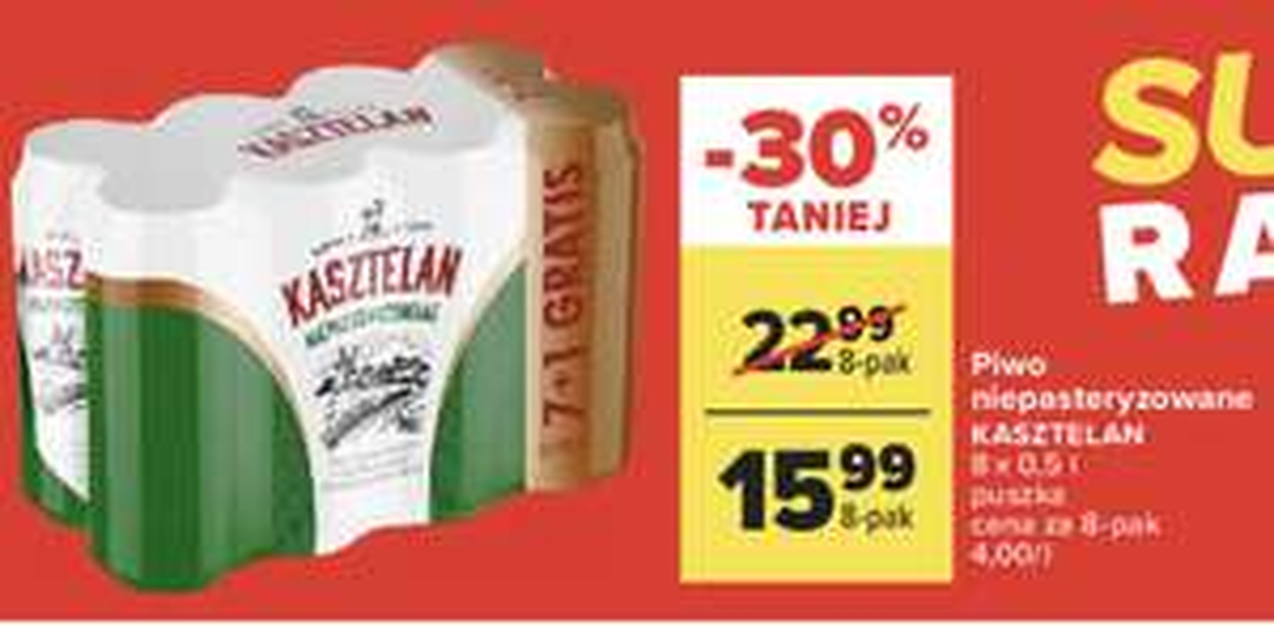 Carrefour - piwo kasztelan niepasteryzowany 8 pak (1,99 szt), Kozel 2,39 :)