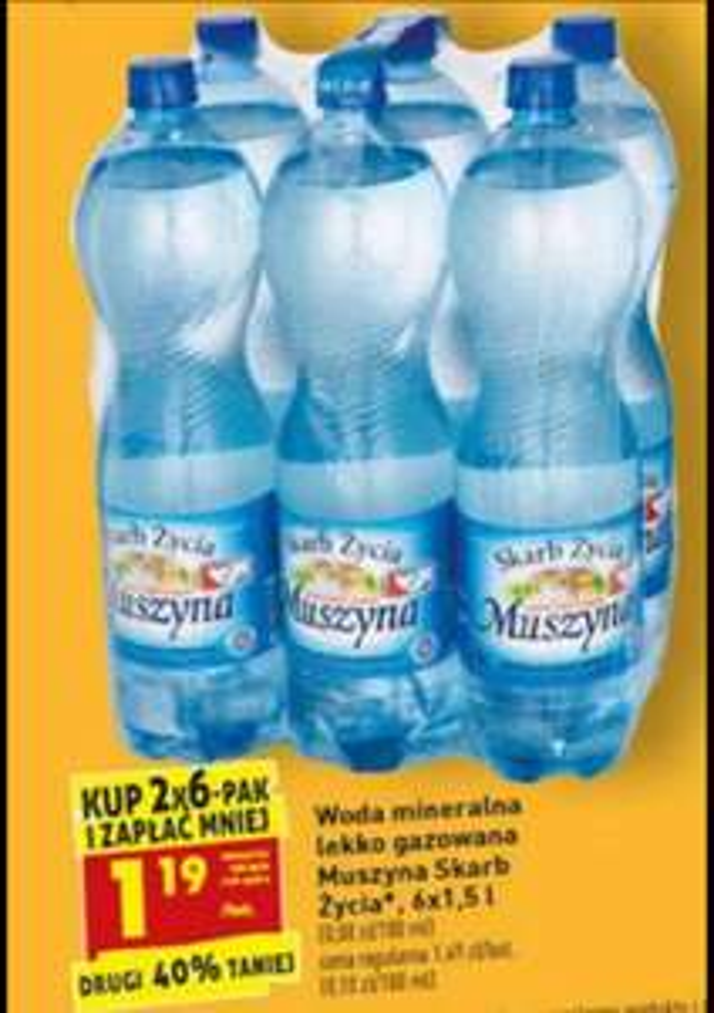 Woda mineralna lekko gazowana Muszyna 6x1,5 L 1,19 zł Biedronka