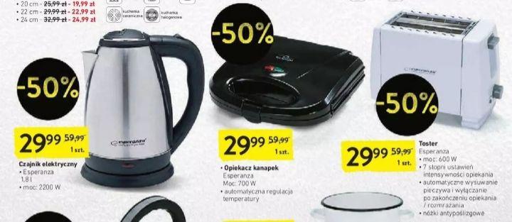 Czajnik elektryczny, opiekacz kanapek lub toster Intermarche -50%