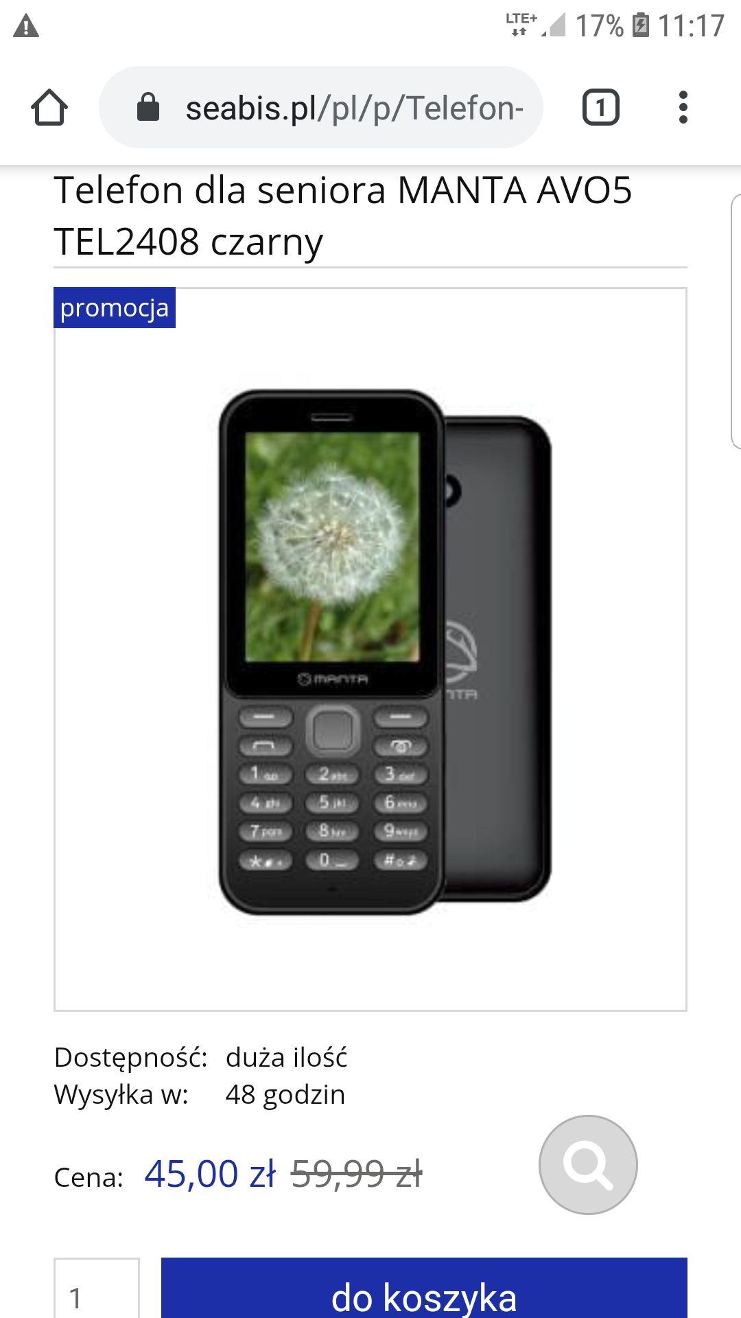 Telefon MANTA AVO5 TEL2408 CZARNY