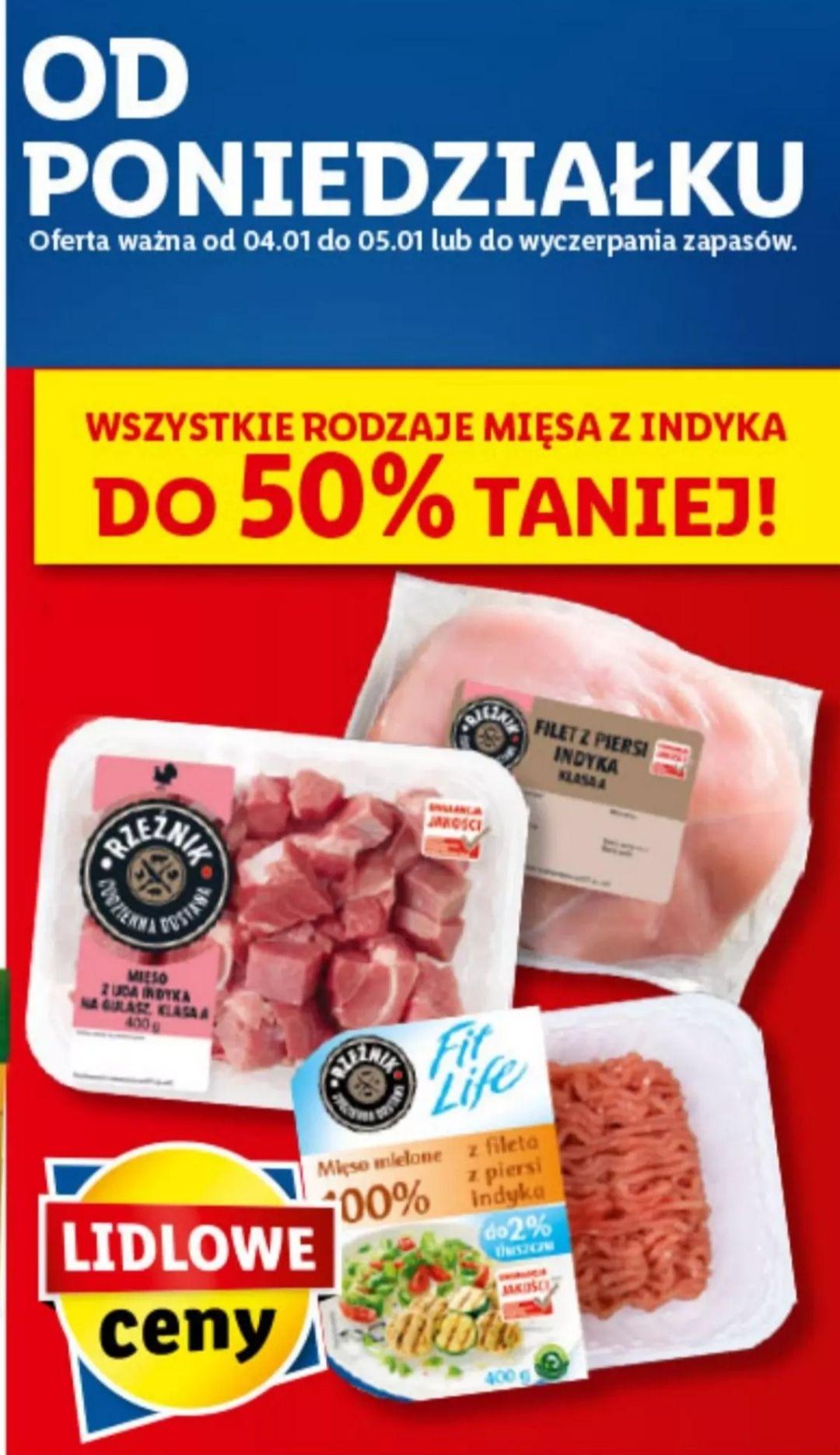 Wszystkie rodzaje mięsa z indyka do 50% taniej