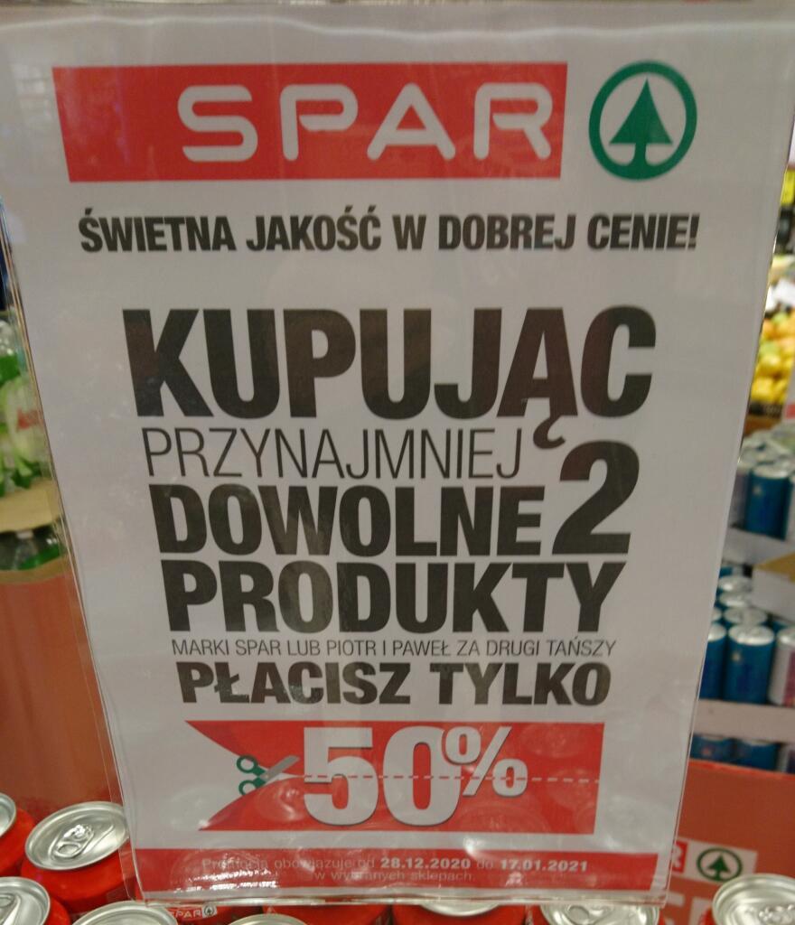 SPAR (Piotr i Paweł) -50% na drugi dowolny produkt marki własnej