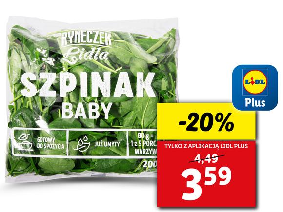 Szpinak Baby 200g z aplikacją Lidl Plus taniej 20%