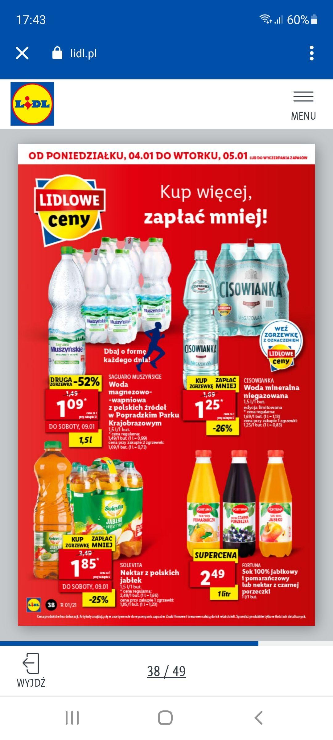Saguaro muszyńskie LIDL przy zakupie 12 butelek