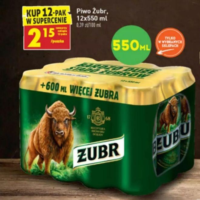 Piwo Żubr 12-pak 550 ml 2.15/puszka -> 25.80/całość Biedronka