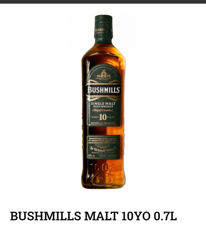 Whisky Irish Whiskey Bushmills 10yo Single Malt 0,7 La Cave (Leclerc) Ursynów