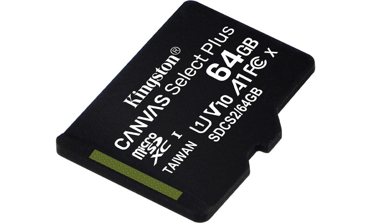 karta pamięci Kingston 64GB microSDXC Canvas Select Plus ( odczyt 100MB/s, zapis 10 MB/s, dożywotnia gwarancja )
