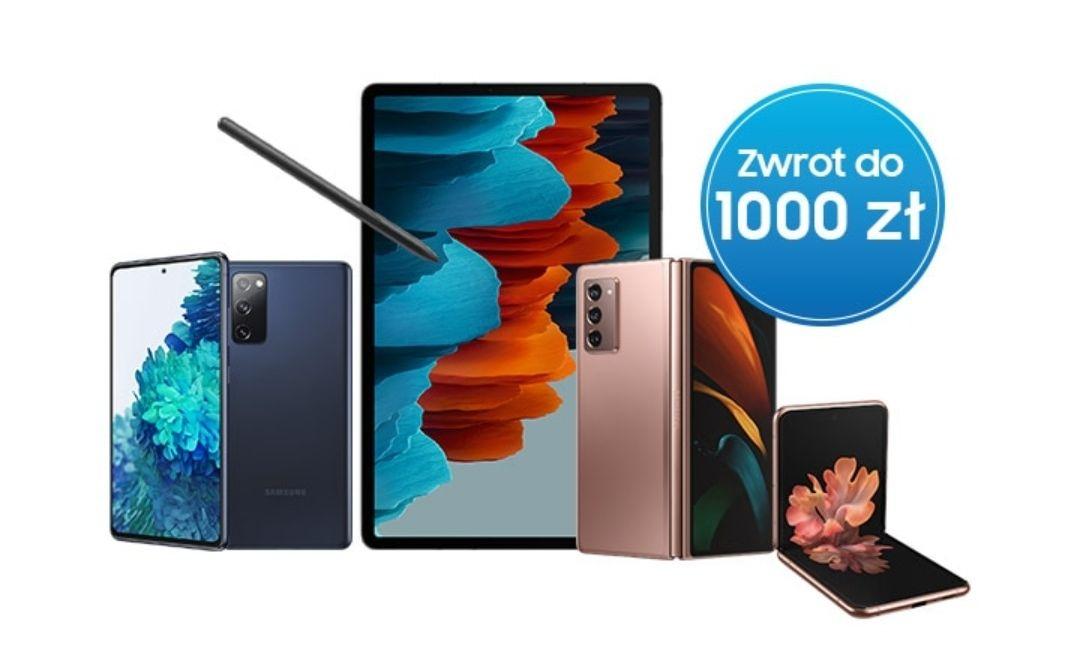 Samsung Cashback do 1000zł - Galaxy S20 FE 4G/5G, Fold 2, Flip 4G/5G, Galaxy Tab S7/S7+