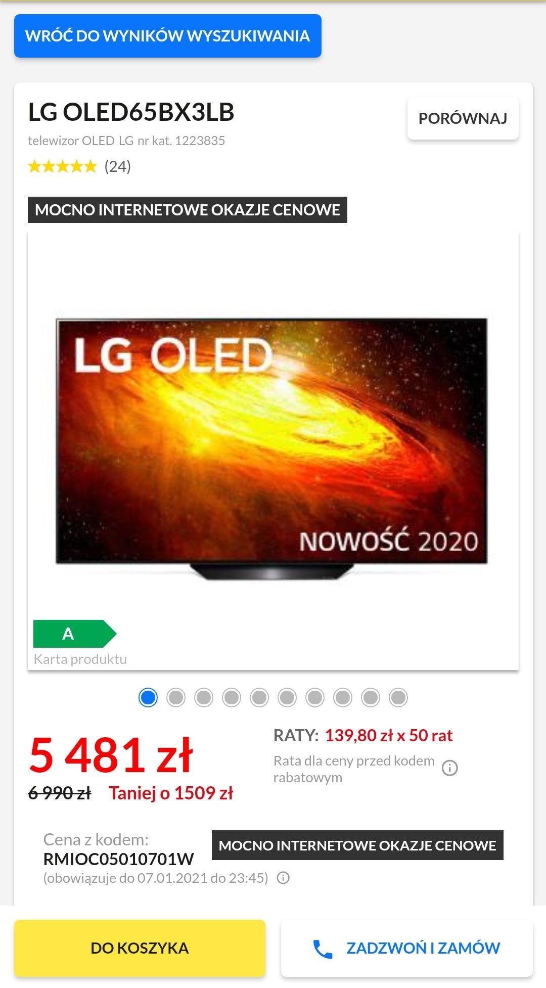 Telewizor LG OLED65BX euro RTV agd