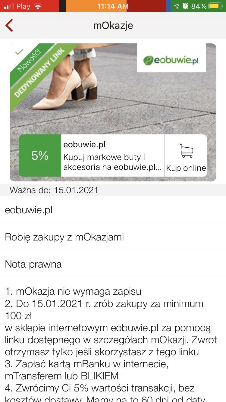 MBank eobuwie.pl 5% zwrotu