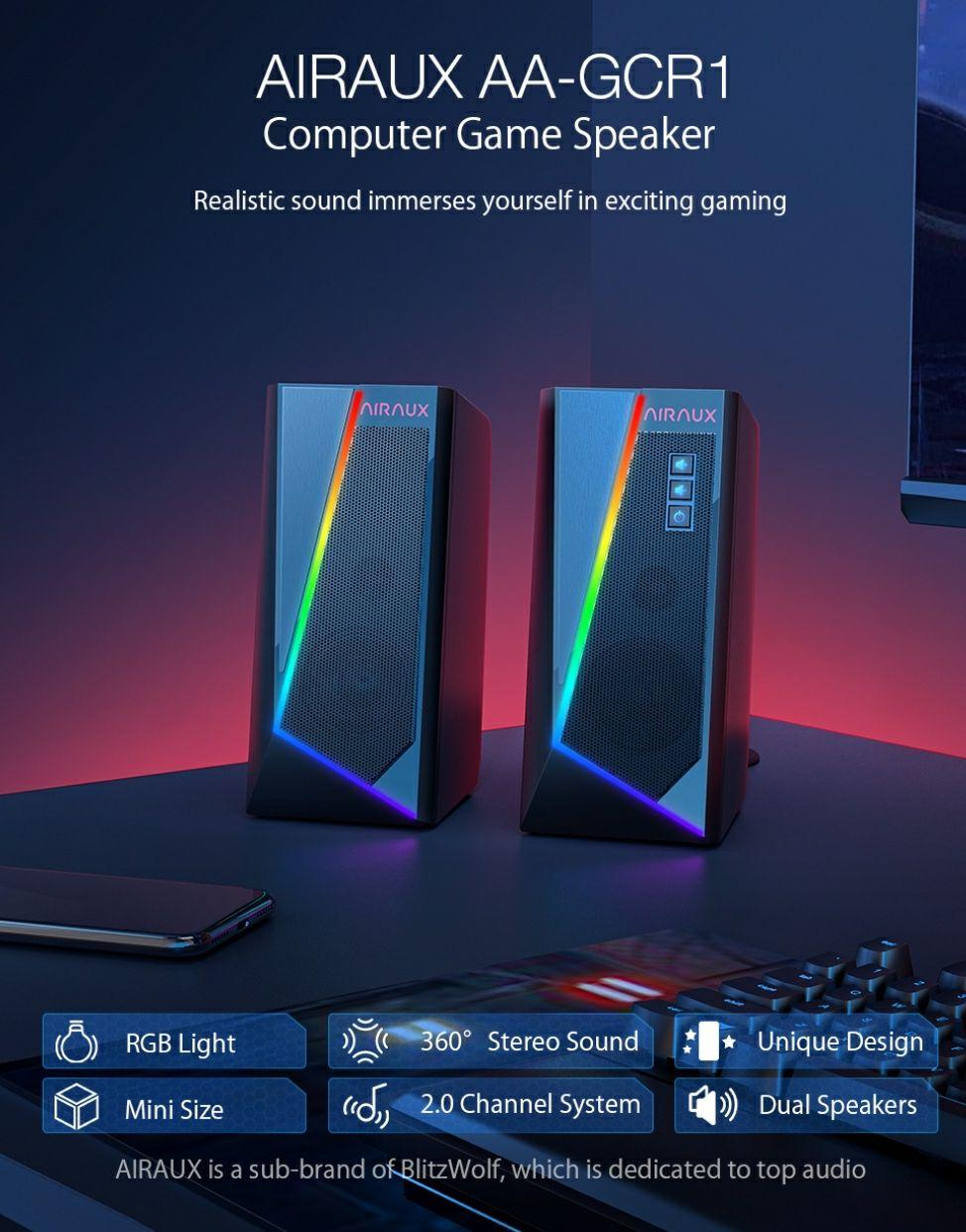 BlitzWolf® AirAux AA-GCR1 głośniki komputerowe RGB @Banggood