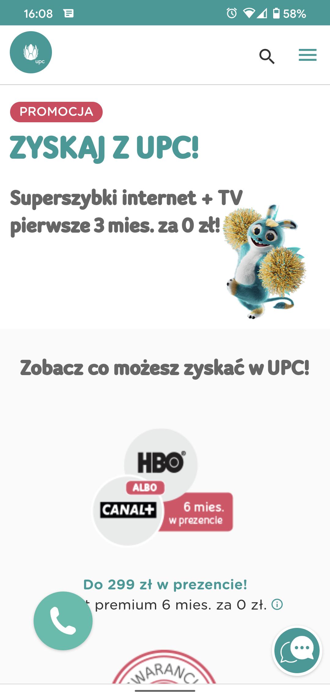 Internet UPC 300 Mb/s, 3 miesiące za 0 zł, HBO Go pół roku za darmo