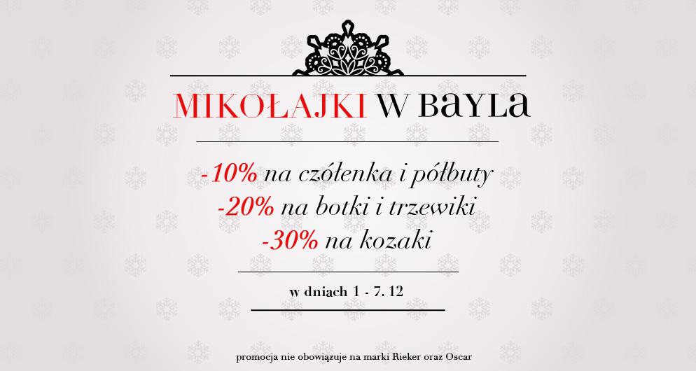 Mikołajkowe rabaty do 30% na buty @ Bayla