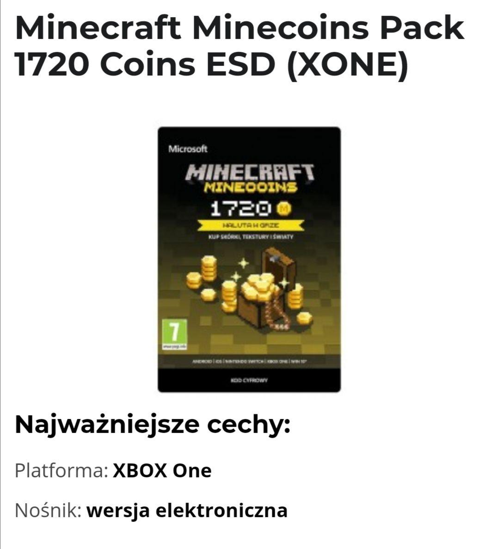 Minecraft Minecoins Pack 1720 Coins ESD (XONE)