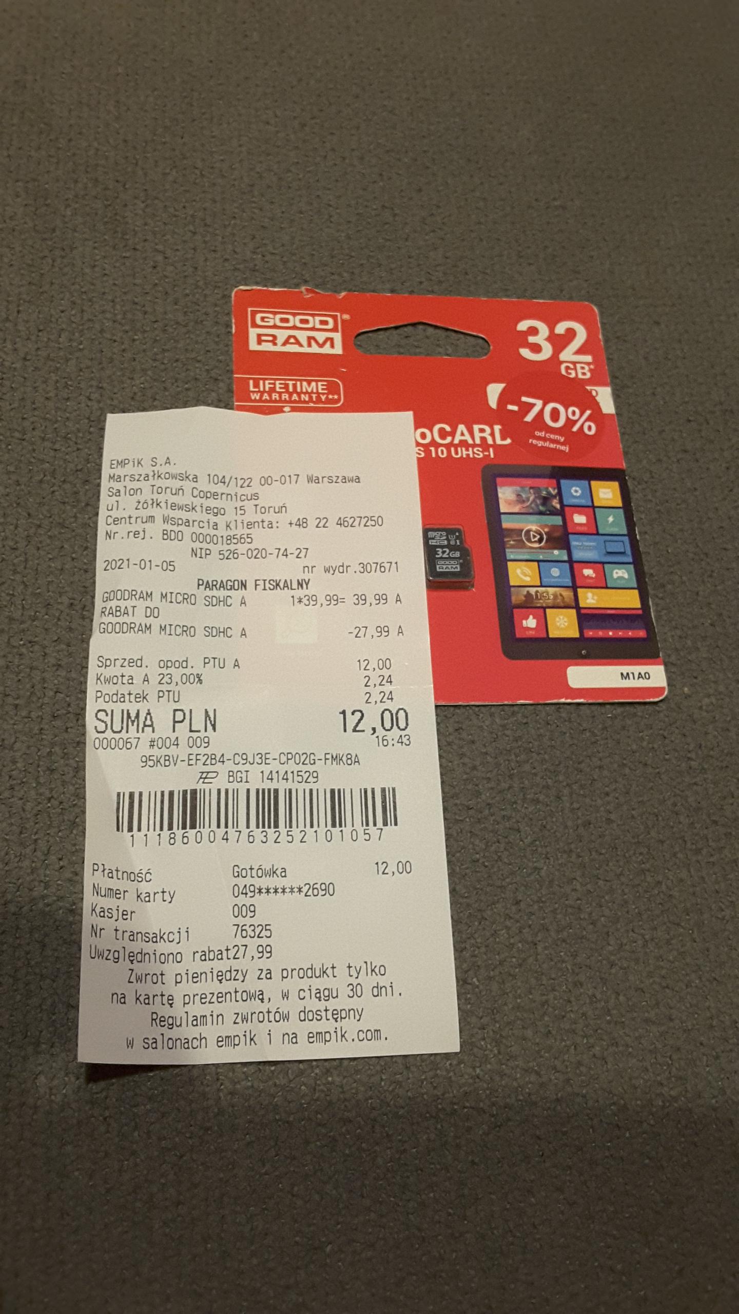 Karta pamięci MicroSd 32 GB GoodRam w Empik