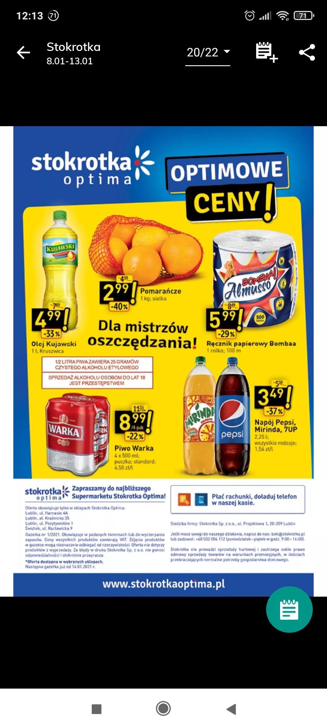 Pepsi w dobrej cenie 2.25l stokrotka optima