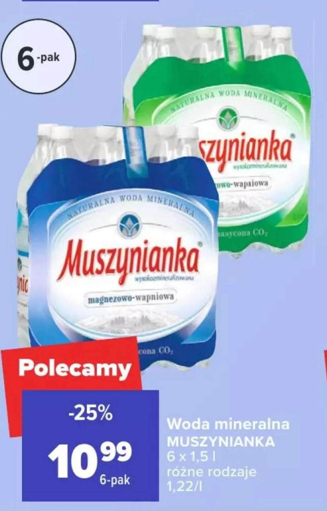 Woda mineralna Muszynianka 1,5l (przy zakupie 6-paku)