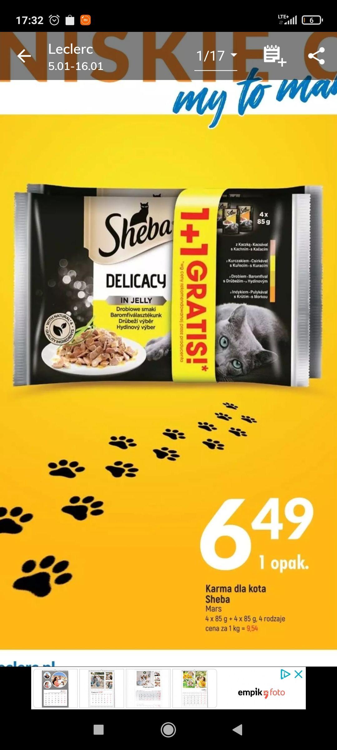 Karma dla kota Sheba 4+4 gratis w E.Leclerc