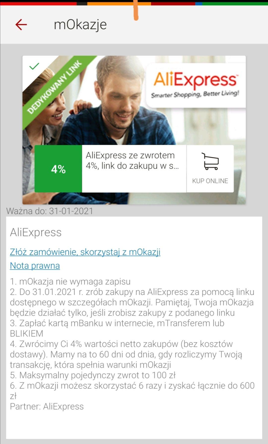 mBank mOkazje 4% zwrotu na konto za zakupy na Aliexpress do 31.01