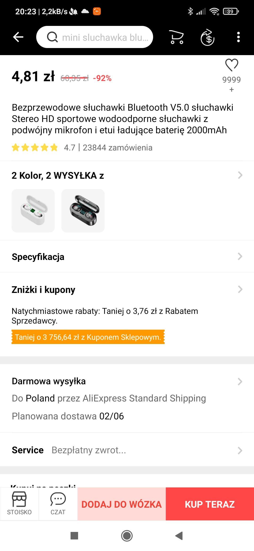 Bezprzewodowe słuchawki Bluetooth V5.0 Stereo HD ,sportowe ,wodoodporne Cebula z Aliexpress