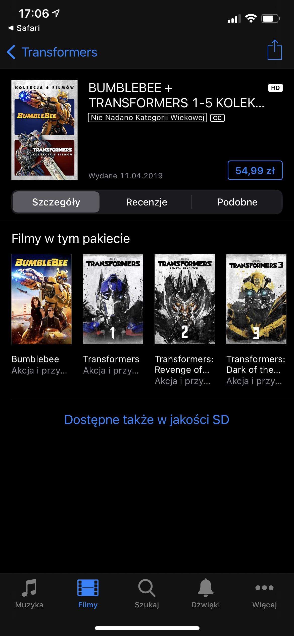 "Kolekcja filmów z serii ""Transformers"" + ""Bumblebee"". Apple iTunes Store. 4K. Dolby Vision. Dolby Atmos."