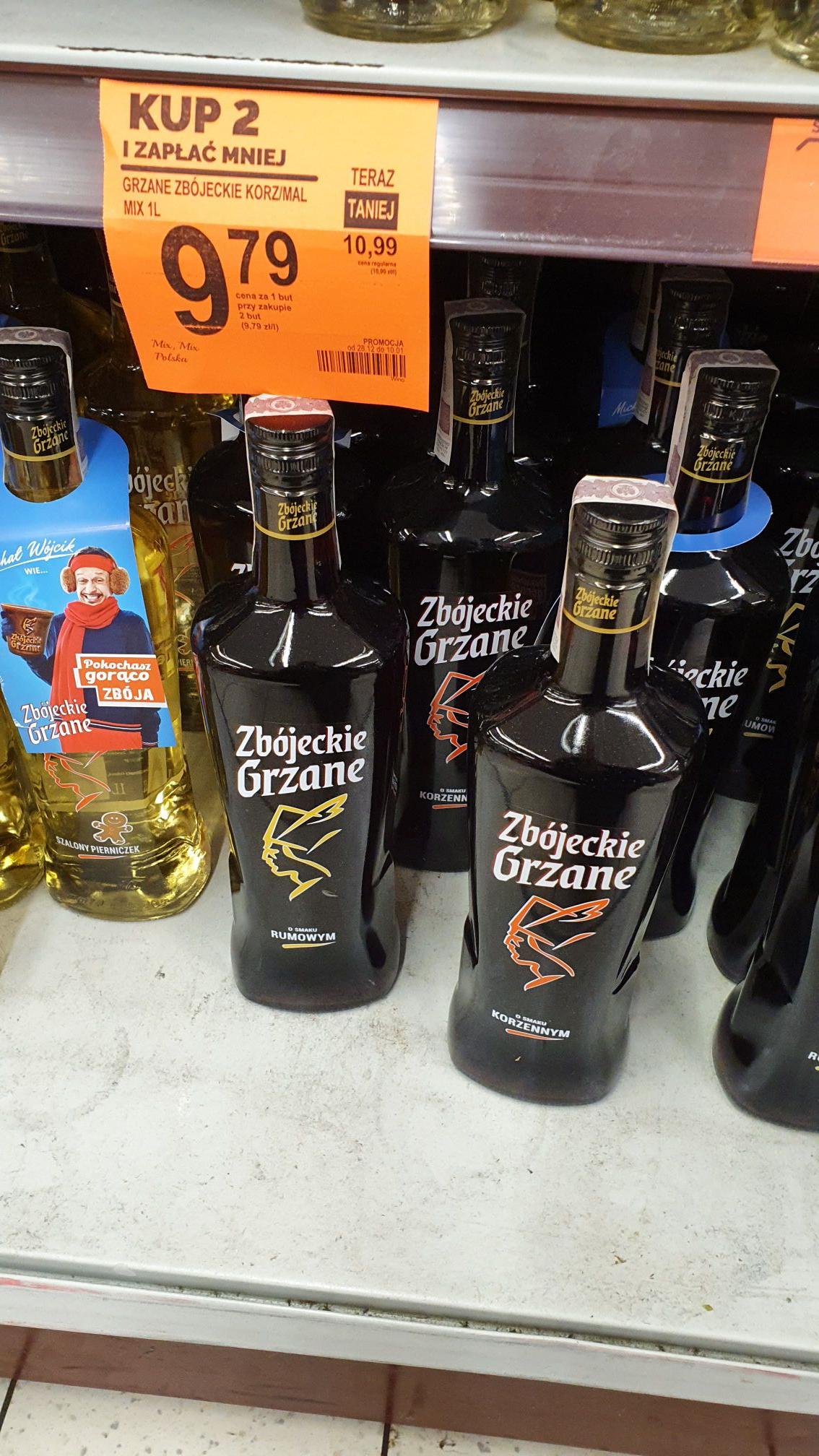 Grzane Zbójeckie o smaku korzennym, ciasteczkowym lub rumowym butelka litrowa