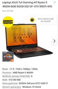 Laptop ASUS TUF GAMING A17 z systemem